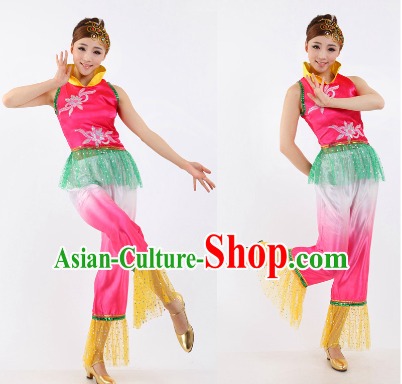 Asian Chinese Fan Dance Costume Dance Attire and Hair Accessories Complete Set