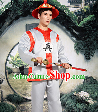 Ancient Chinese Solider Costumes and Hat Complete Set