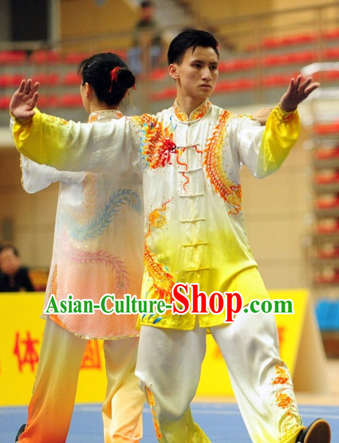 Top  Dragon Embroidery Tai Chi Yoga Clothing Yoga Wear  Yang Tai Chi Quan Kung Fu Uniforms for Men