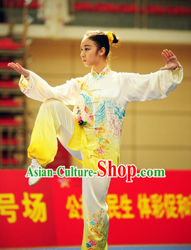 Top Phoenix Embroidery Tai Chi Yoga Clothing Yoga Wear Yang Tai Chi Quan Kung Fu Contest Uniforms for Women