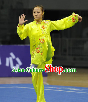 Top Flower Embroidery Tai Chi Yoga Clothing Yoga Wear Yang Tai Chi Quan Kung Fu Contest Uniforms for Women