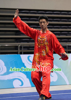 Top Red Dragon Embroidery Tai Chi Costumes Taijiquan Costume Aikido Chikung Tichi Uniforms Quigong Uniform Thaichi Martial Arts Qi Gong Combat Clothing Competition Suit for Men