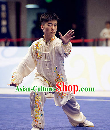 Top Embroidered Lotus Tai Chi Swords Championship Costumes Taijiquan Uniforms Quigong Uniform Thaichi Martial Arts Qi Gong Kung Fu Combat Clothing Competition Clothes for Men