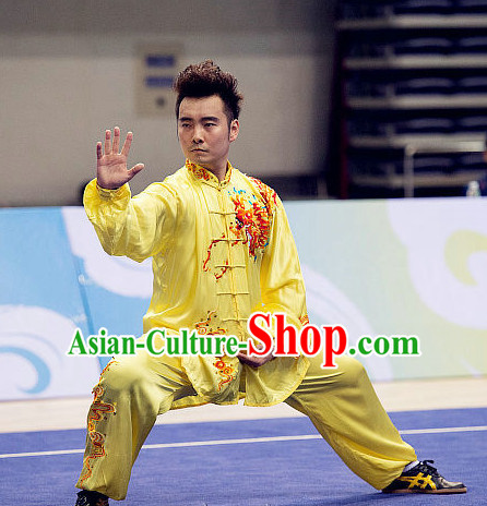 Top Tai Chi Swords Championship Dragon Costumes Taijiquan Uniforms Martial Arts Qi Gong Kung Fu Combat Clothing Competition Uniform for Men
