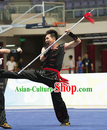 Top Shinning Black Kung Fu Stick Uniforms Kungfu Training Uniform Kung Fu Clothing Kung Fu Movies Costumes Wing Chun Costume Shaolin Martial Arts Clothes for Men