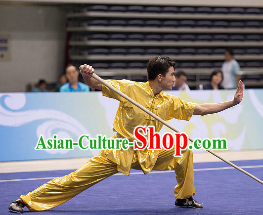 Top Shinning Kung Fu Stick Competition Uniforms Kungfu Training Suit Kung Fu Clothing Kung Fu Movies Costumes Wing Chun Costume Shaolin Martial Arts Clothes for Men