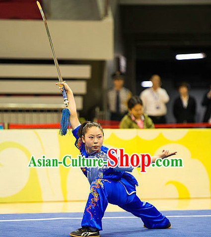 Top Blue Chinese Kung Fu Sword Uniforms Kungfu Uniform Martial Arts Competition Costumes for Women