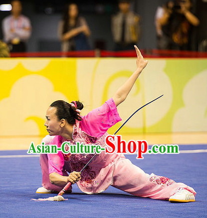 Top Chinese Kung Fu Sword Uniforms Martial Arts Competition Costumes for Women