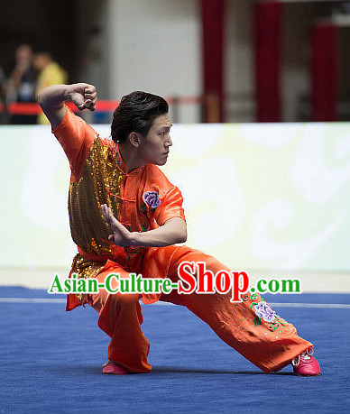 Top Orange Embroidered Chinese Southern Fist Kung Fu Uniform Martial Arts Uniforms Kungfu Suits Competition Costumes Complete Set