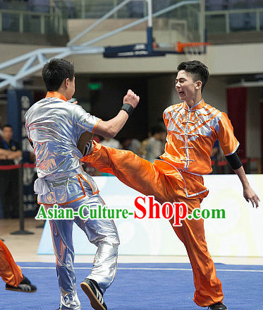 Top Orange Chinese Southern Fist Kung Fu Uniform Martial Arts Uniforms Kungfu Suits Competition Costumes Complete Set
