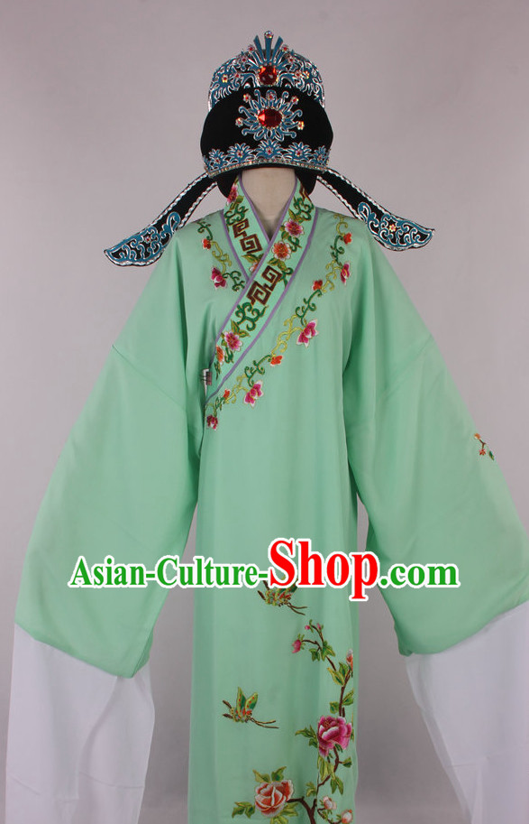 Chinese Beijing Opera Peking Opera Young Scholar Costumes Long Robe and Hat Complete Set for Men