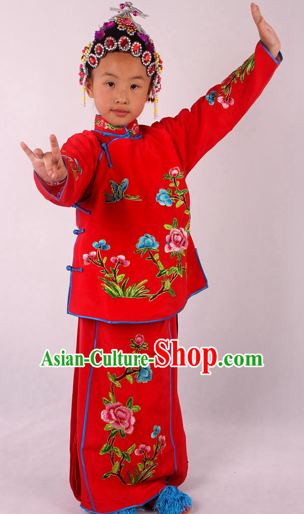 Chinese Beijing Opera Peking Opera Red Costumes Complete Set for Kids