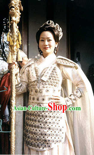 Chinese Ancient Female Warrior Costumes and Mantle Complete Set for Women