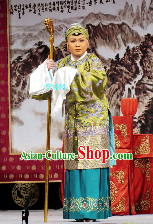 Chinese Ancient Beijing Opera Pantaloon Costumes and Headwear Complete Set for Women