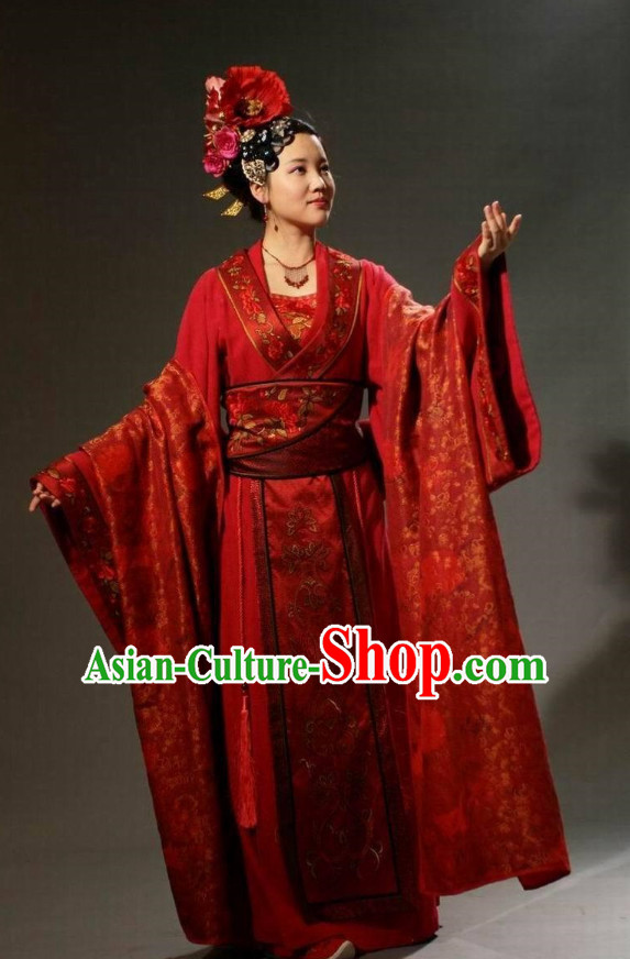 Chinese Ancient Noblewomen Costumes and Headwear Complete Set