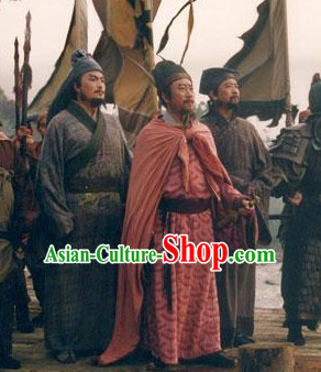 Chinese Ancient General Mantle Costumes and Hat  Complete Set