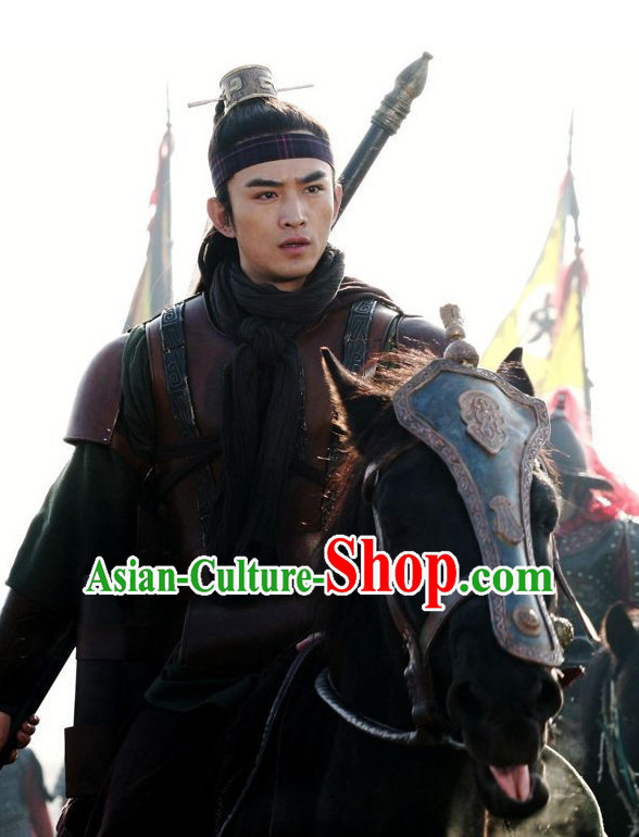 Chinese Ancient Fighter Warrior Costumes and Hat  Complete Set