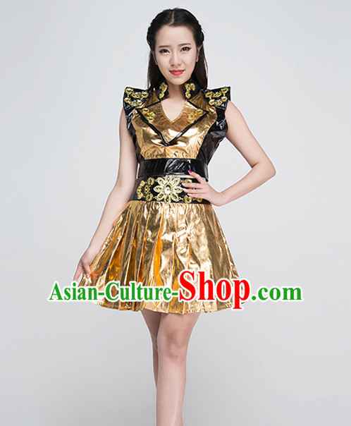 Asian Drummer Dancing Costumes and Hat Complete Set for Women