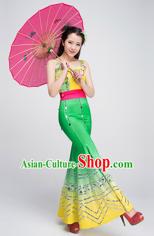 Traditional Chinese Dai Ethnic Dance Costume Complete Set for Women
