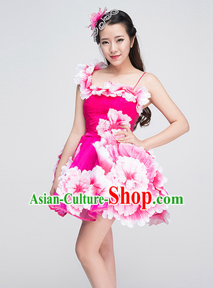 Traditional Chinese Flower Dancing Costume Complete Set for Women