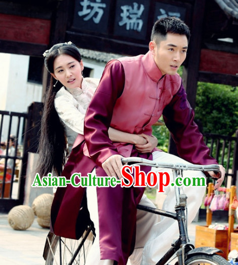 Chinese Minguo Time Mandarin Long Robe Clothes for Men