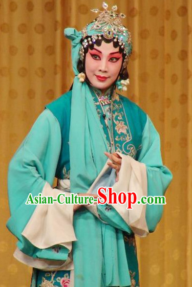 Chinese Culture Chinese Opera Costumes Chinese Cantonese Opera Beijing Opera Costumes Qing Yi Costumes and Headwear Complete Set
