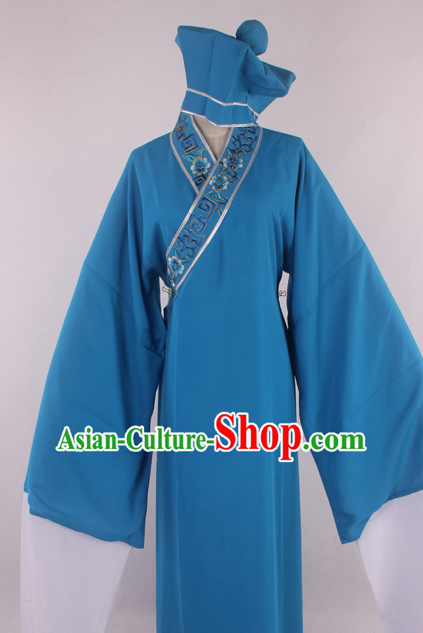 Chinese Culture Chinese Opera Costumes Chinese Cantonese Opera Beijing Opera Costumes Tang Bohu Servant Costumes and Hat Complete Set for Men