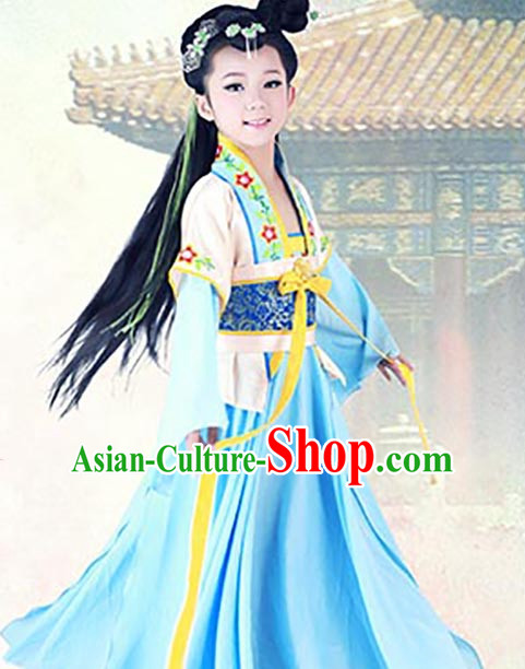 Chinese Kimono Dresses and Hair Jewelry Complete Set for Gilrs