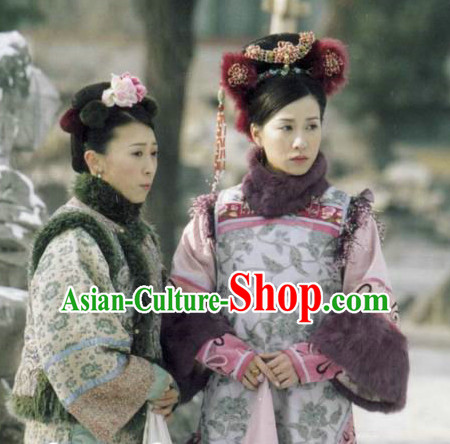 Chinese Qing Manch Plus Size Dress and Headpieces Complete Set for Women