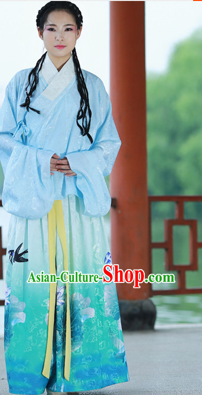 Chinese Ming Dynasty Traditional Plus Size Dresses Summer Dresses and Headpieces Complete Set