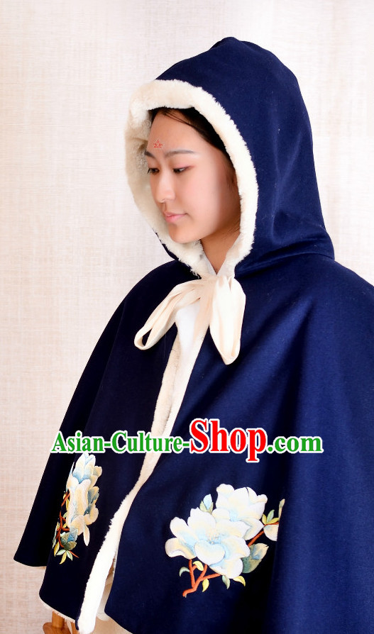 Chinese Hanfu Blue Mantle for Women