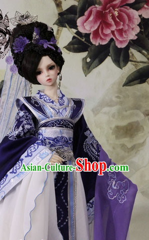 Chinese Kimono Dress and Headpieces Complete Set for Ladies