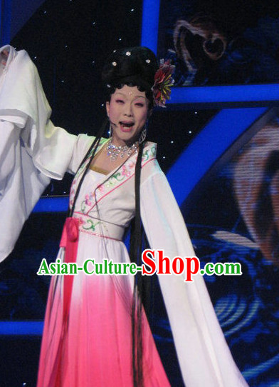 Long Sleeves Chinese Opera Costumes and Headpieces Complete Set for Ladies