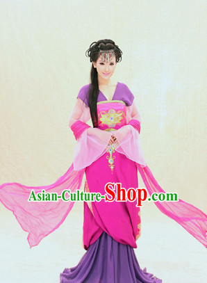 Chinese Traditional Fairy Folk Dress and Headpieces Complete Set for Ladies