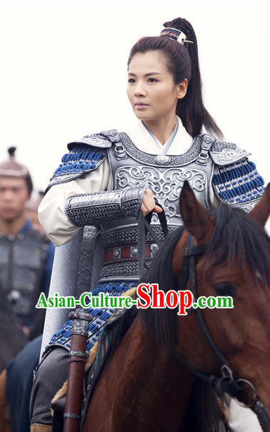 Chinese Ancient Female Hero Armor Costumes Complete Set for Teenagers or Adults