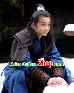 Chinese Han Warrior Costumes and Headwear Complete Set for Kids or Teenagers Adults
