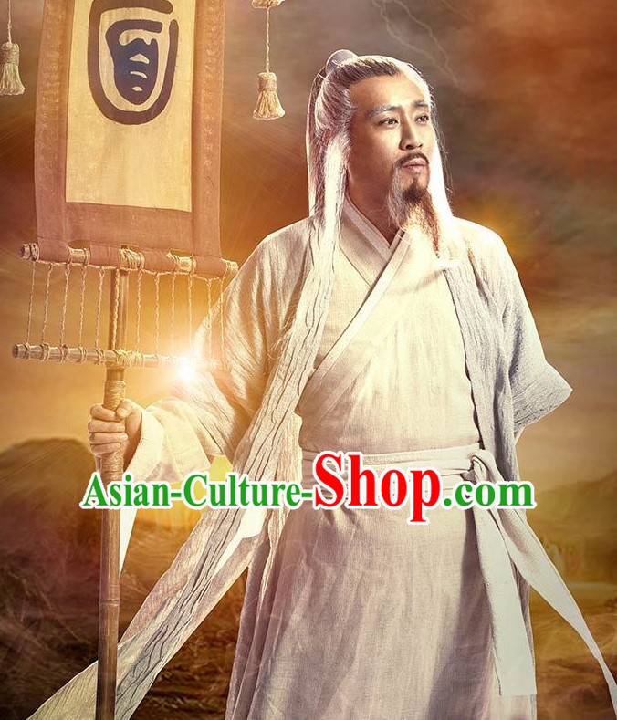 Ancient Chinese Wise Man Traditional Male Clothing Complete Set for Men