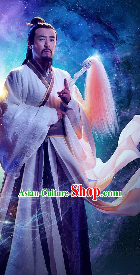 Ancient Chinese Wise Men Traditional Male Clothing Complete Set