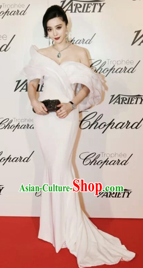 Chinese Star Fan Bingbing White Glorious Evening Dress