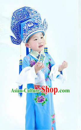 Chinese Ancient Peking Opera Costumes and Hat Complete Set for Kids