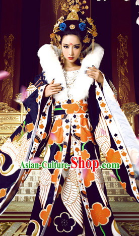 Ancient Chinese Empress Winter Dresses and Headwear Complete Set for Kids or Adults