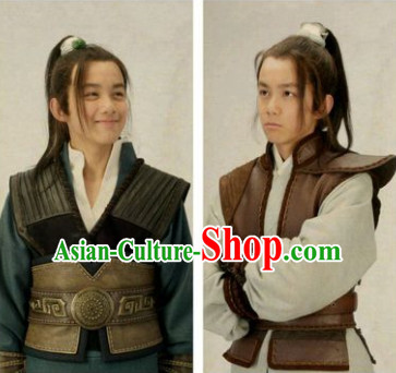 Chinese Ancient Teenagers Long Black Wigs