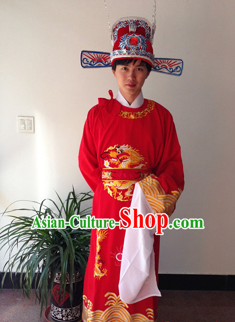 Long Sleeve Chinese Opera Bridegroom Costumes and Hat Complete Set