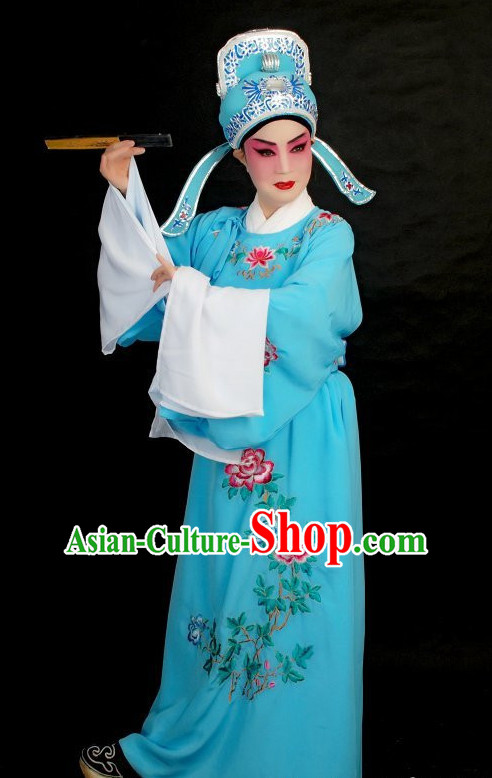 Long Sleeve Chinese Opera Student Young Men Lover Story Costumes and Hat Complete Set