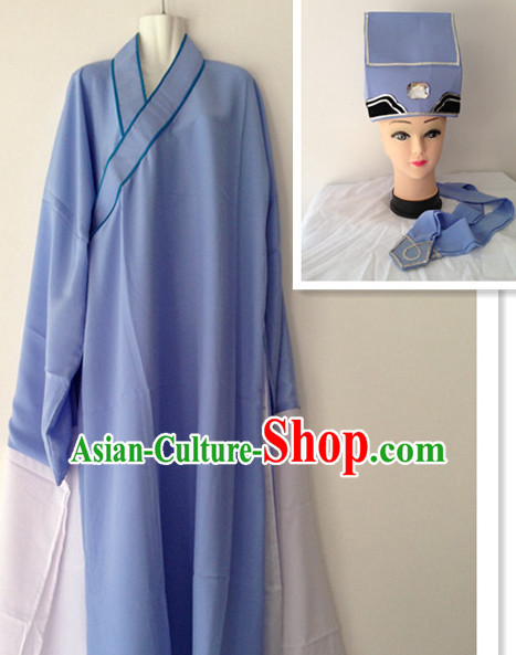 Long Sleeve Chinese Opera Poor Student Costume and Hat Complete Set