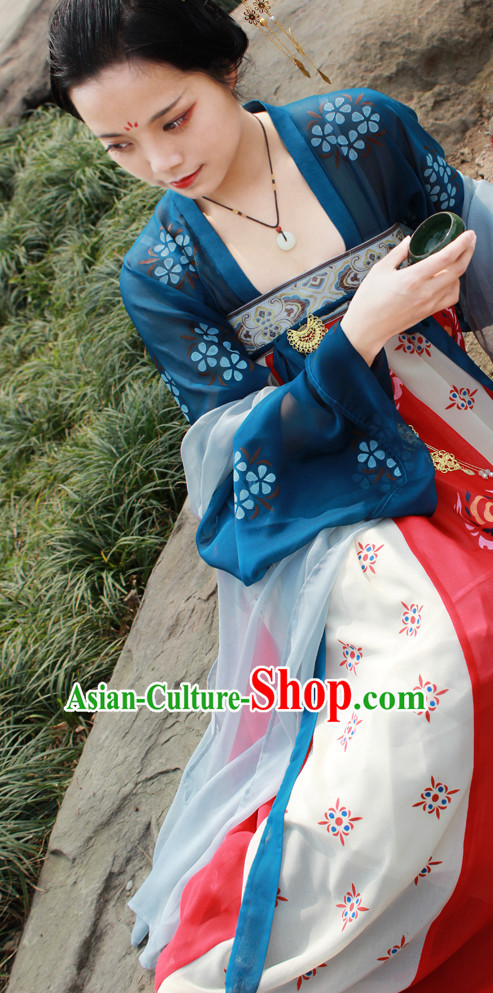 Chinese Ancient Song Dynasty Hanfu Clothing Complete Set