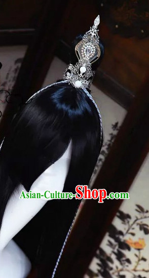 Chinese Traditional Black Long Wig and Prince Coronet