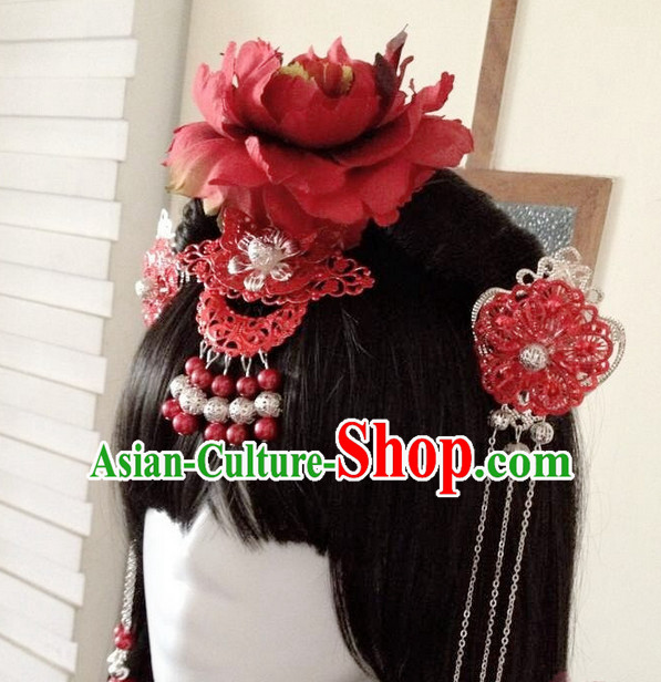 Chinese Style Female Red Wedding Hair Accessories Headpieces