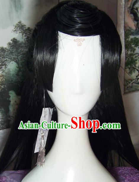 Chinese Style Black Long Wig for Men