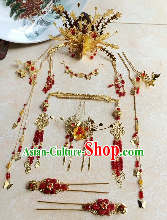 Traditional Chinese Handmade Bridal Hair Pieces Hair Accessories Hair Jewelry Set